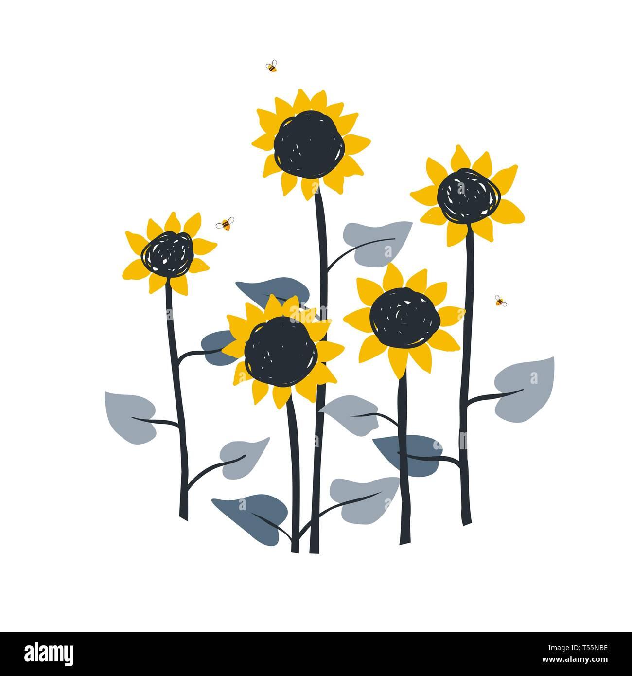 Doodle blumen abbildung mit wilden wiese sonnenblumen auf weißem hintergrund vektor element für sonnenblumen