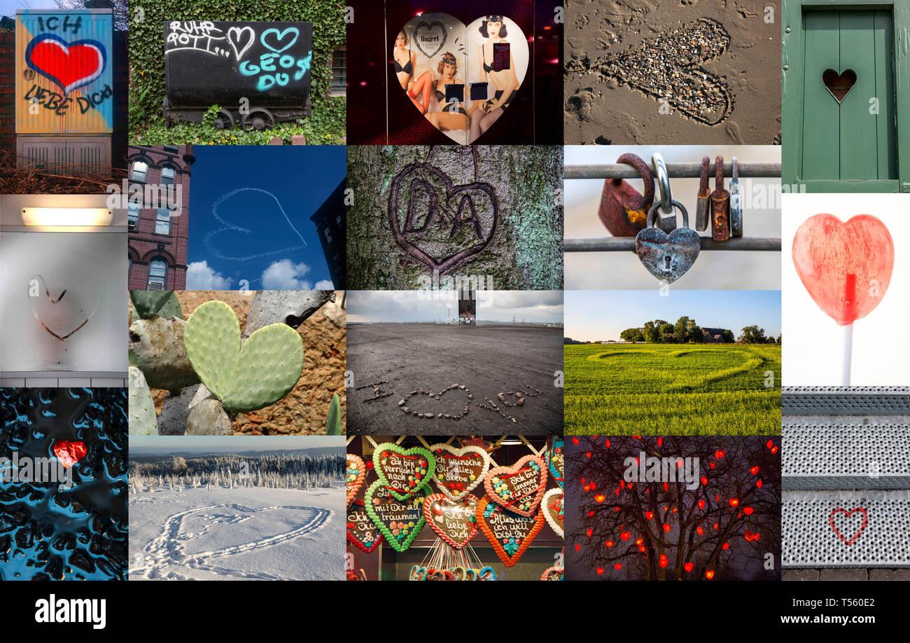 Collage, symbolische Bild Liebe, Beziehung, Liebe, Herz, kleines Herz in verschiedenen Verwendungen, Orte, Graffiti Stockfoto