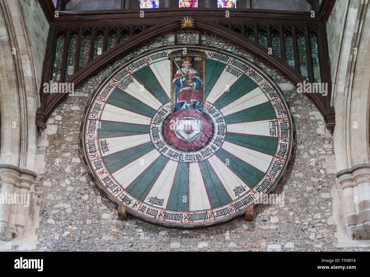 König Arthurs Tafelrunde in der Großen Halle, Winchester, Hampshire, UK Stockbild