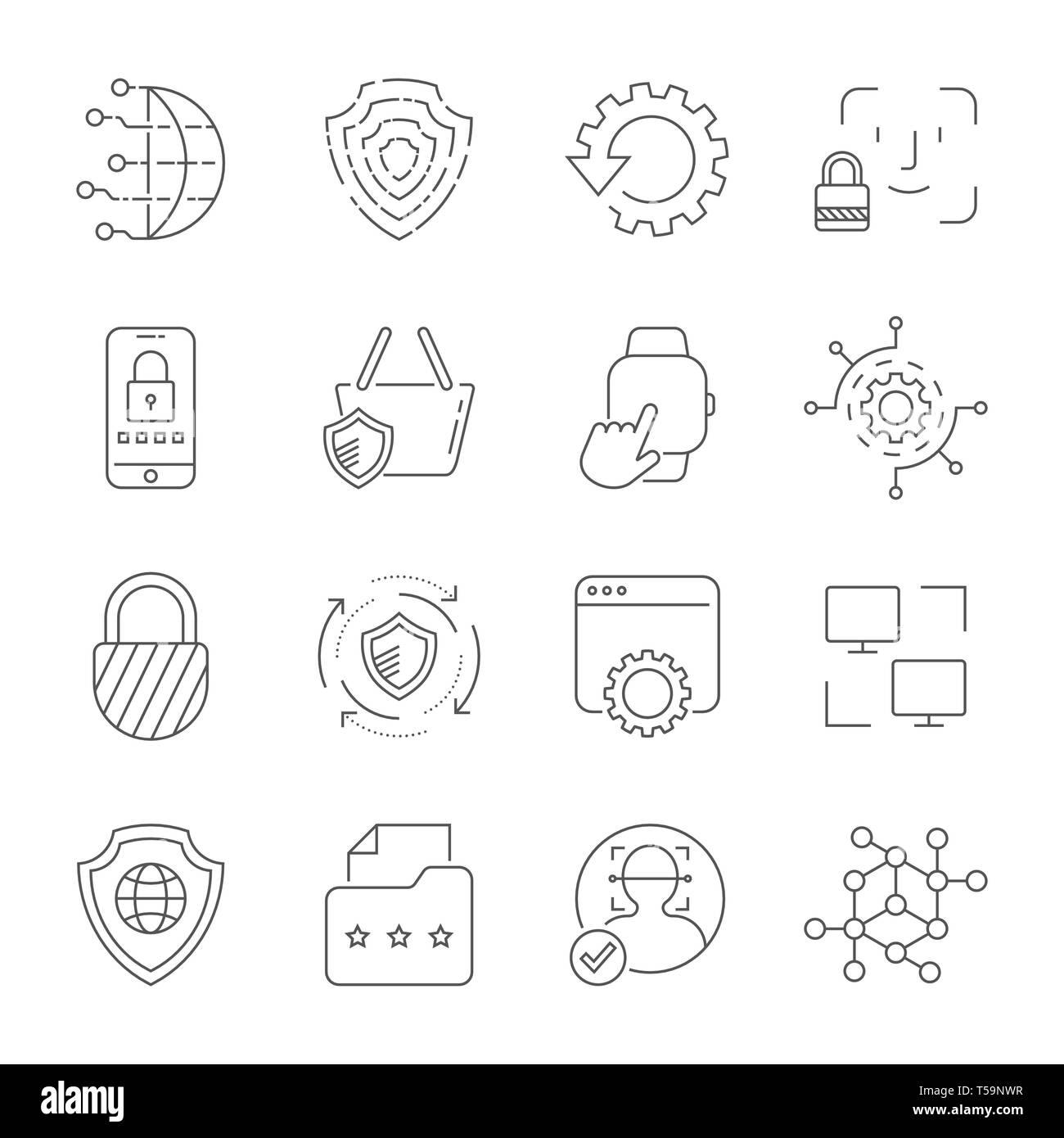 Die digitale Technologie, Sicherheit, Schutz, Innovation im Cyberspace. Editierbare Schlaganfall. EPS 10. Stockbild
