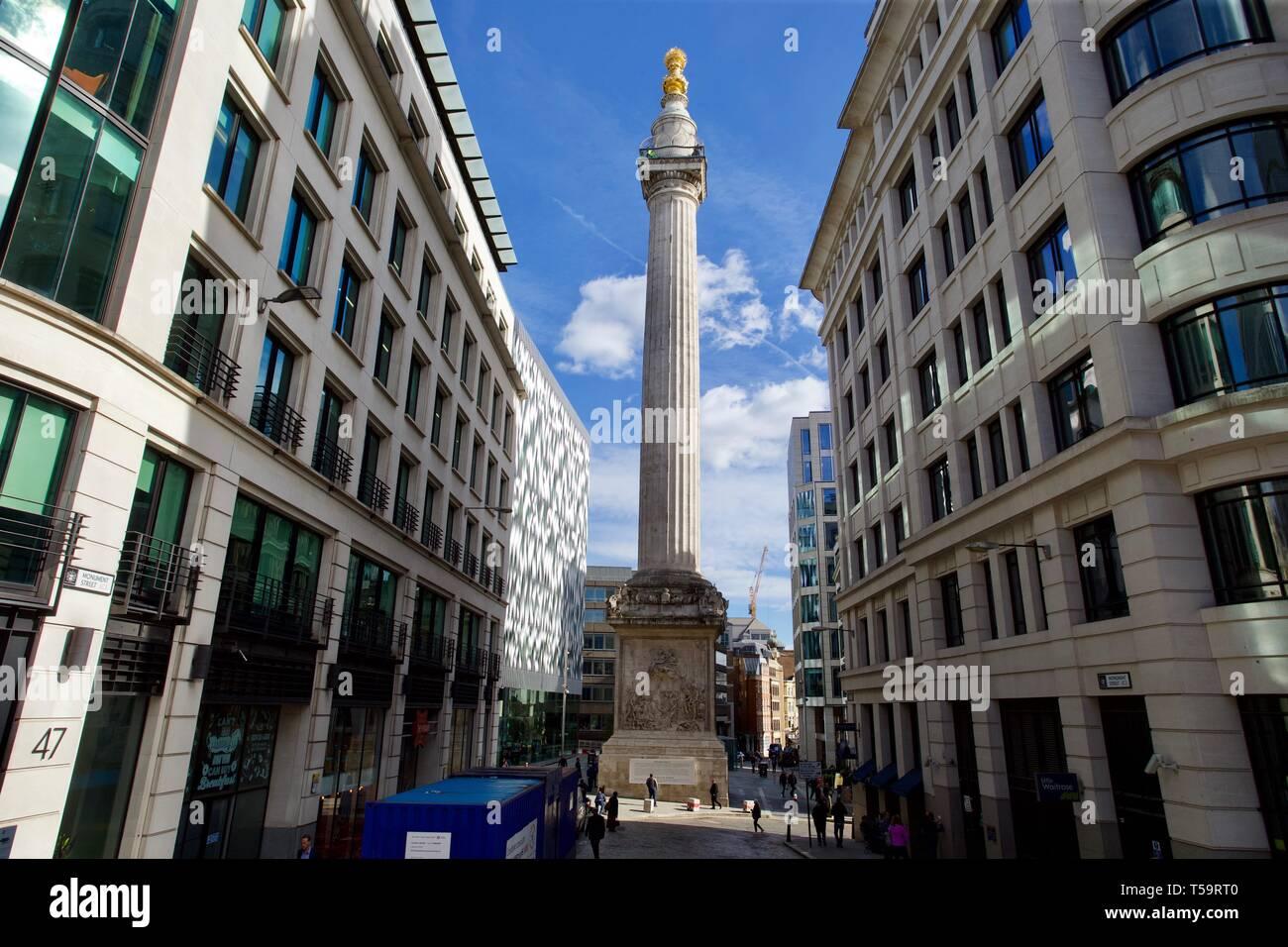Denkmal für den großen Brand von London, England. Stockbild