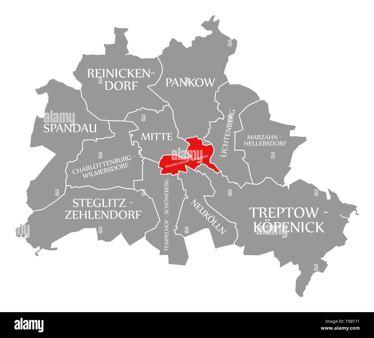 Friedrichshain Kreuzberg Stadtteil Rot In Der Karte Von Berlin