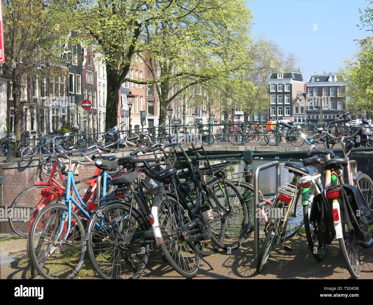 Fahrräder sind überall in Amsterdam, auf Kanal Brücken geparkt, in Regalen an der Gracht & so weit das Auge sehen kann; sehr beliebtes Fortbewegungsmittel Stockbild