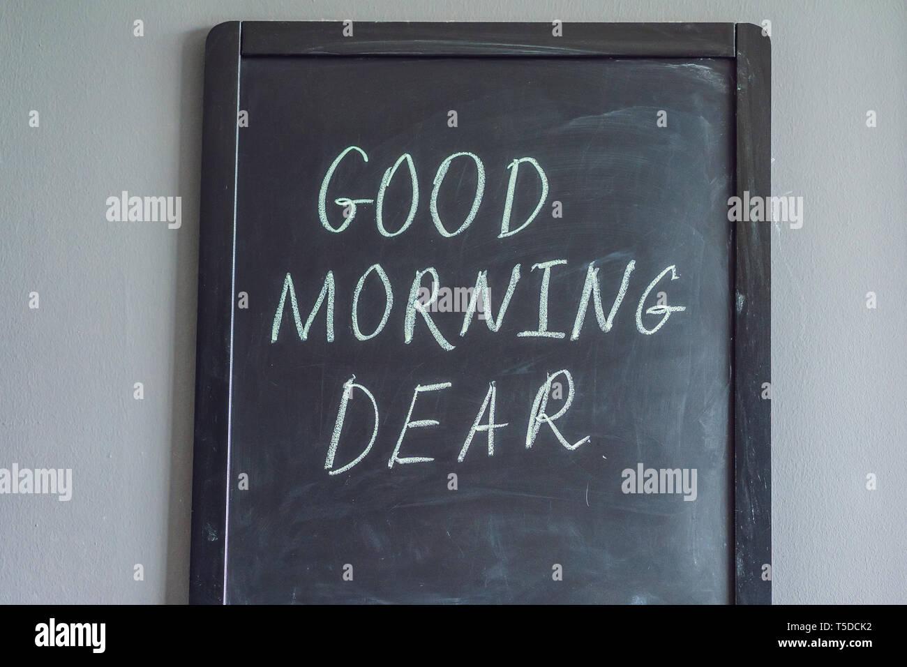 Guten Morgen Liebe Beschriftung Mit Kreide Auf Einer Tafel