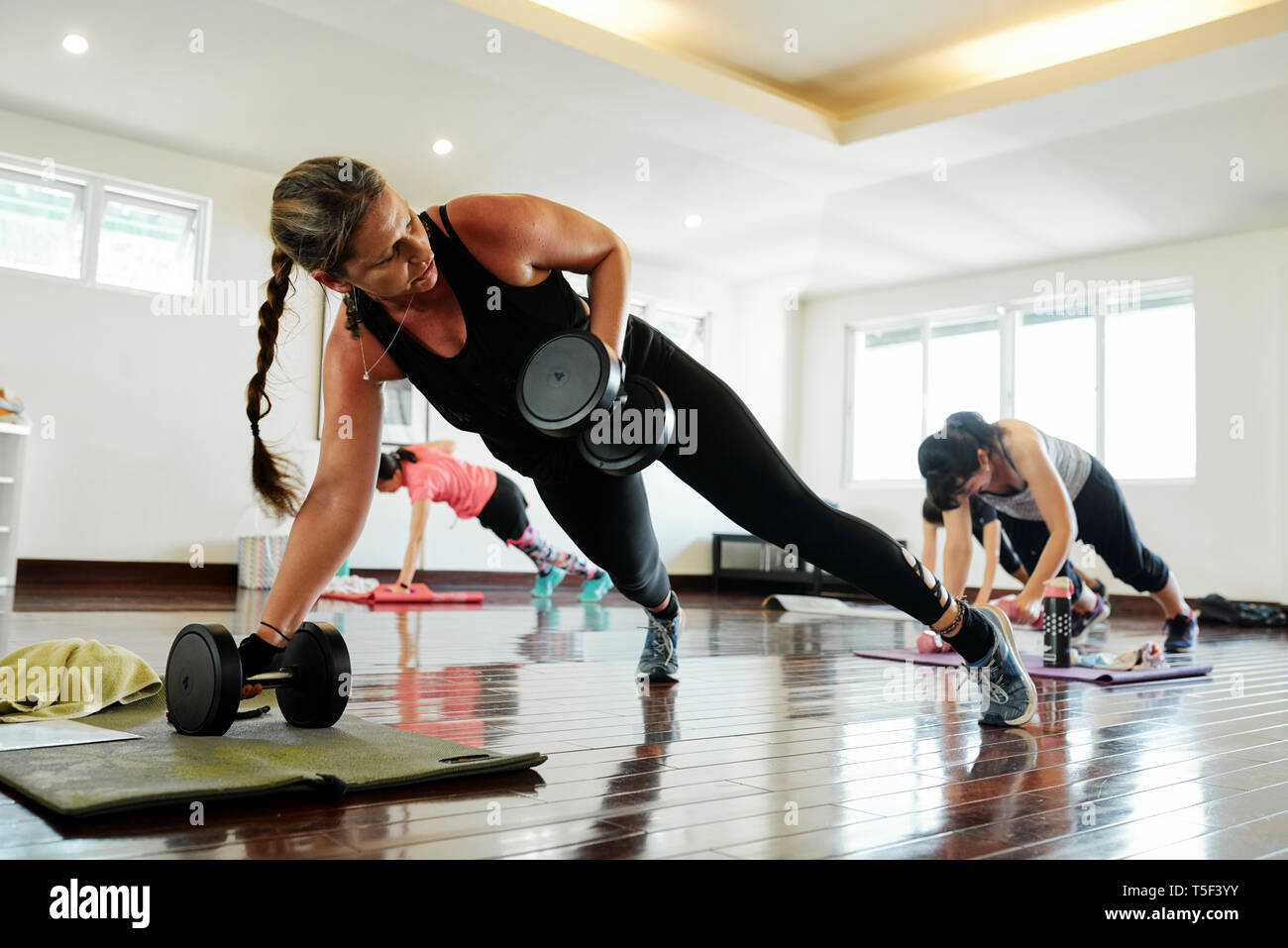 Erweiterte plank Workout Stockbild