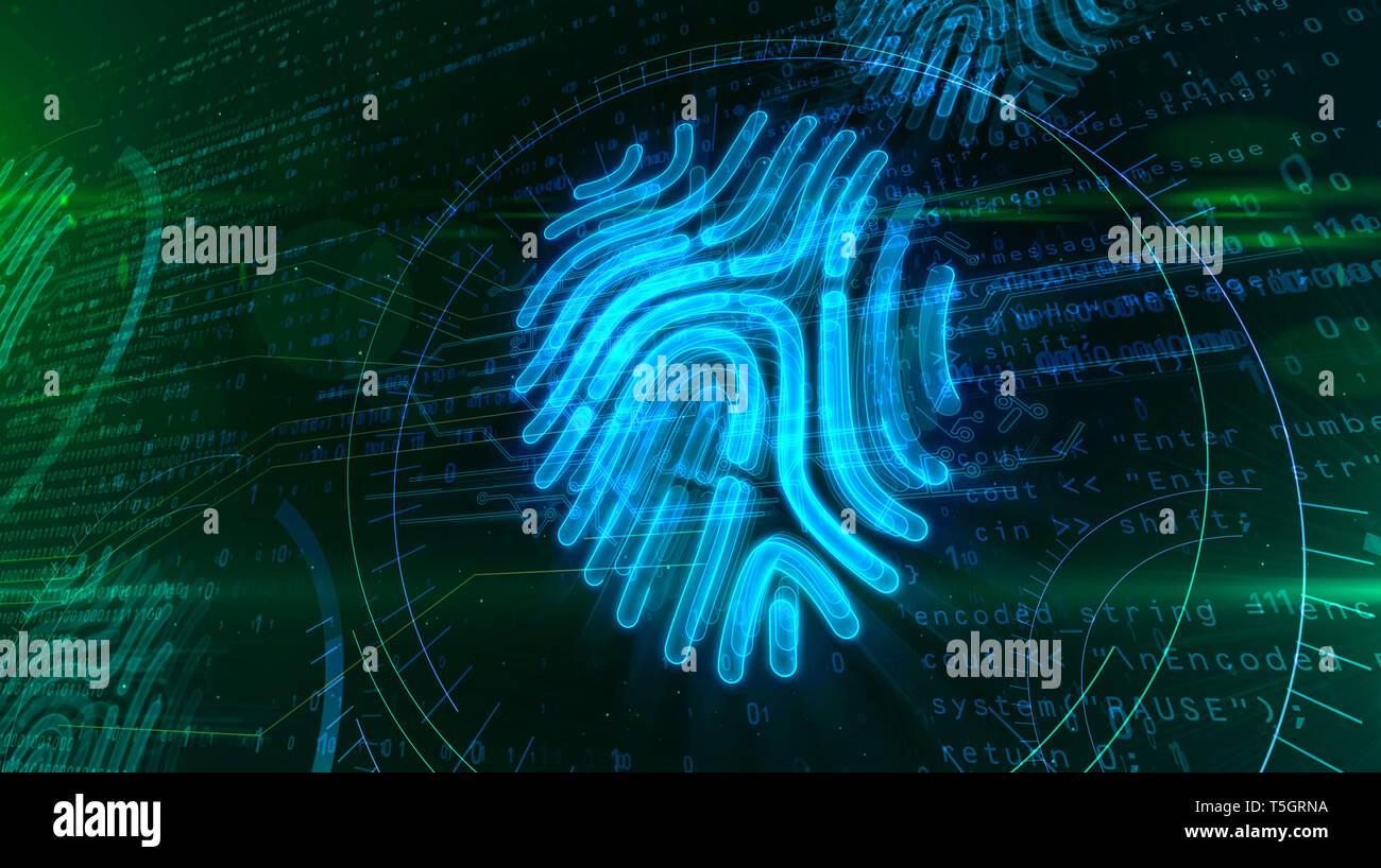 Digitale Schutz durch Fingerabdruck Autorisierung auf cyber Hintergrund. Personal Identification Technologie und digitale Sicherheit mit Hand Finger verifica Stockfoto