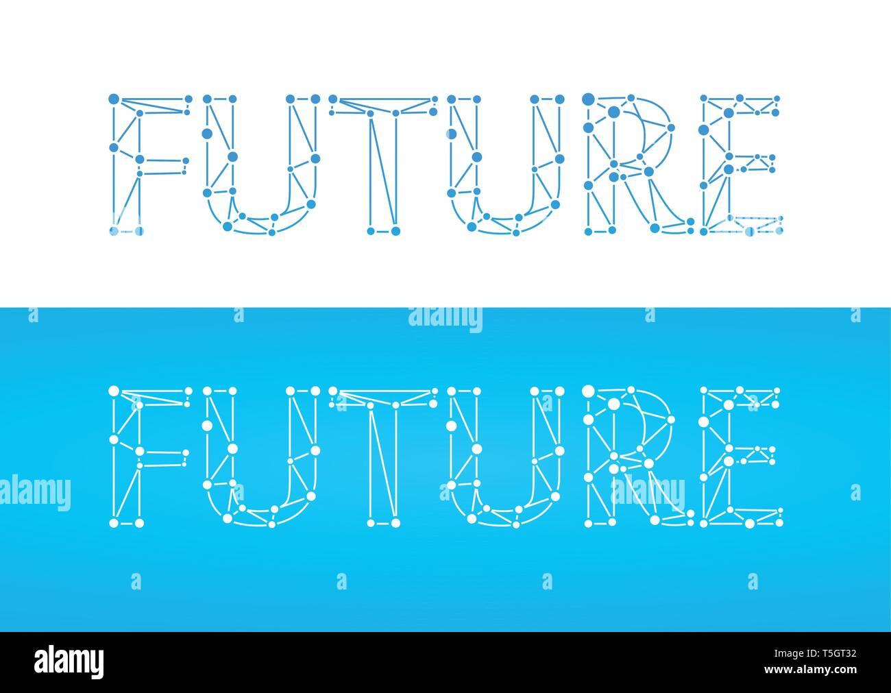 Zukunft Caption In Blauer Farbe Auf Weiß Und Blau Isoliert