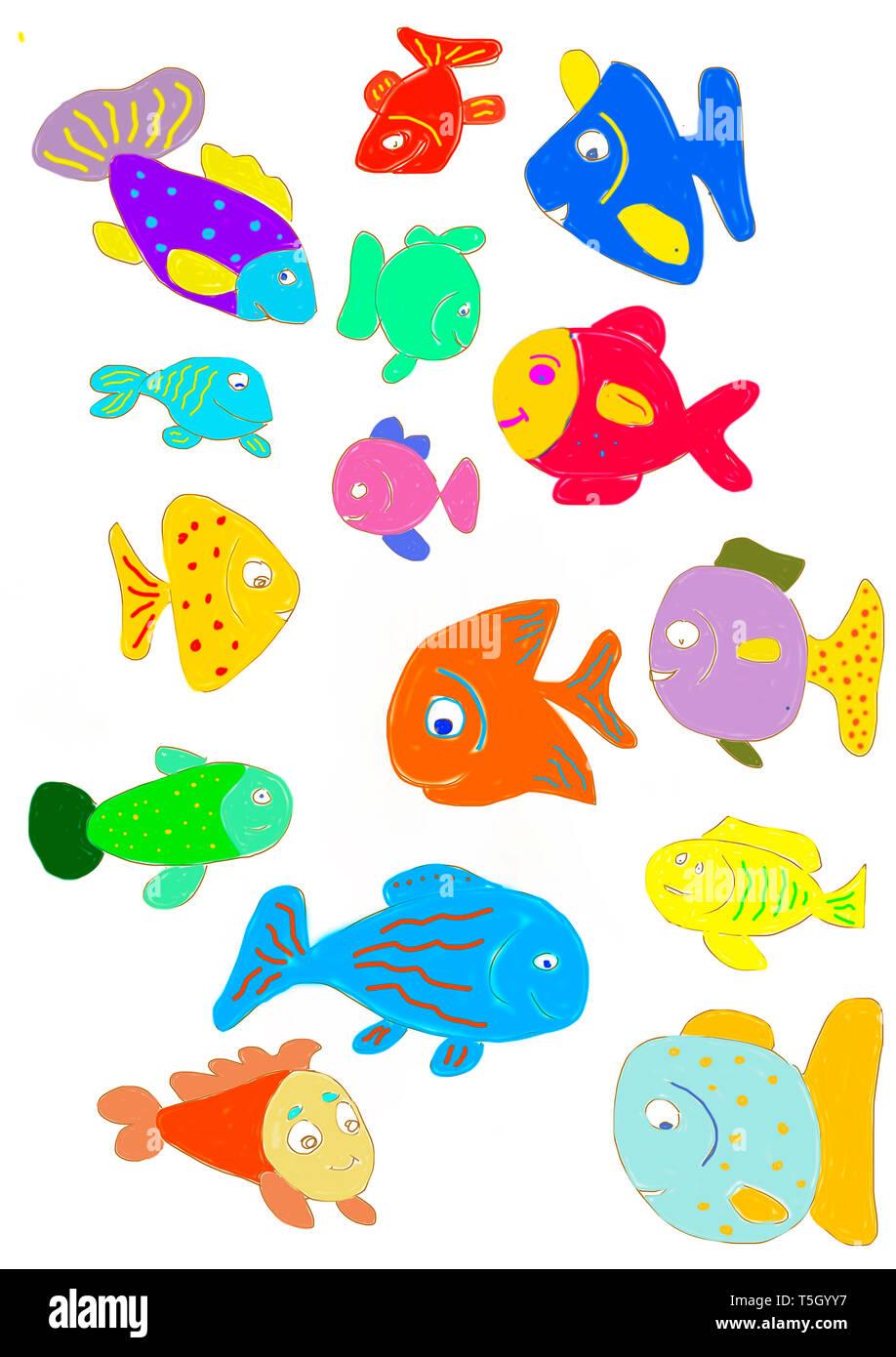 Fische Zum Ausdrucken Bunt Fische Zum Ausmalen Und