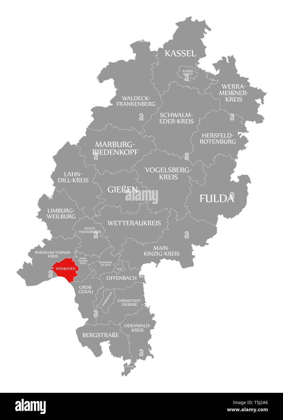 wiesbaden karte deutschland Wiesbaden county rot hervorgehoben Karte von Hessen Deutschland