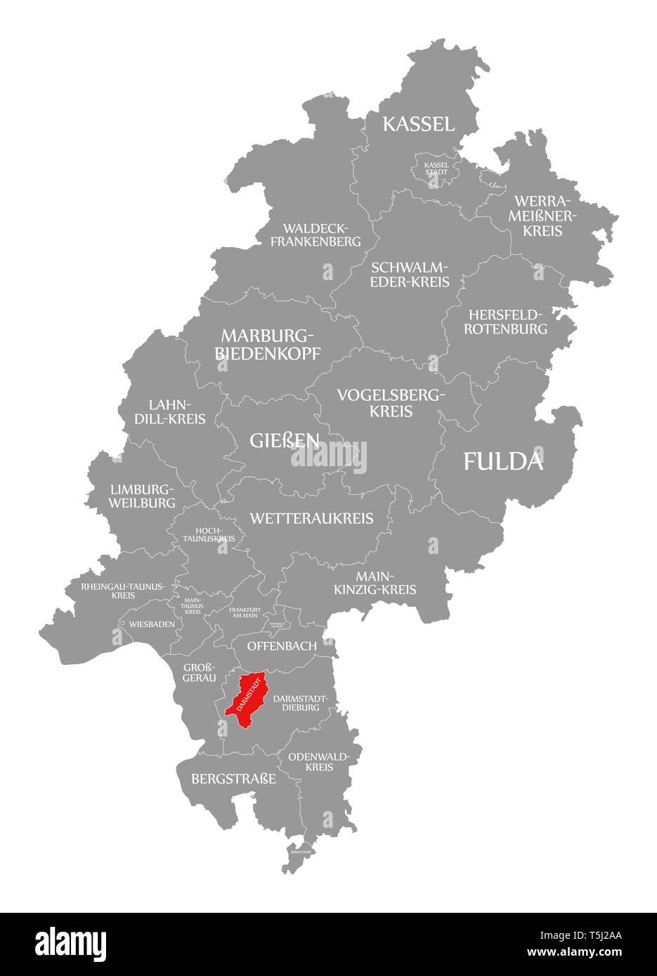 Darmstadt County Rot Hervorgehoben Karte Von Hessen Deutschland