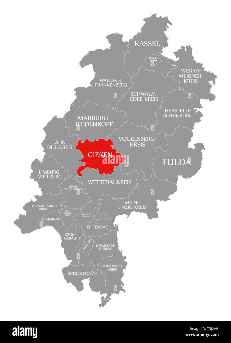 Giessen Grafschaft Rot Hervorgehoben Karte Von Hessen Deutschland