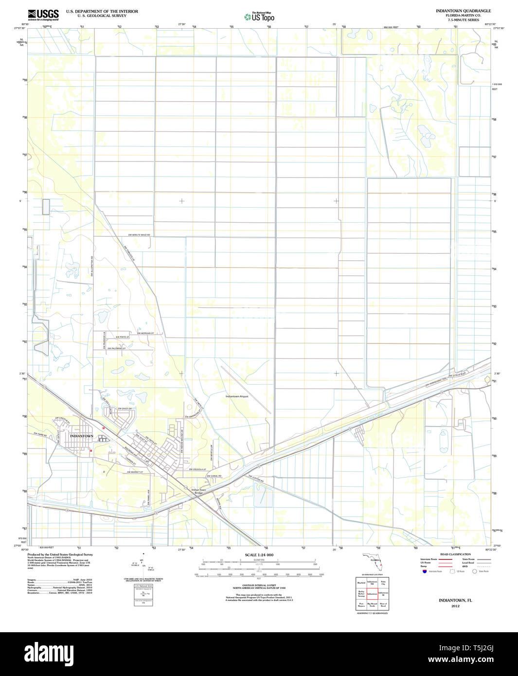 USGS TOPO Karte Florida FL Indiantown 20120726 TM Wiederherstellung Stockfoto
