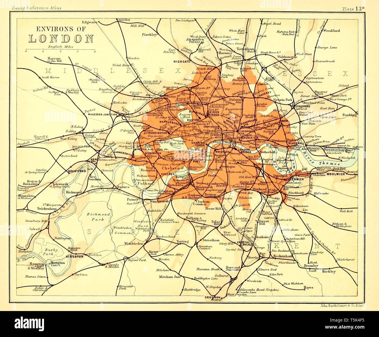 London City Innere Stadt Themse Lithographie 1892 alter historischer Stadtplan