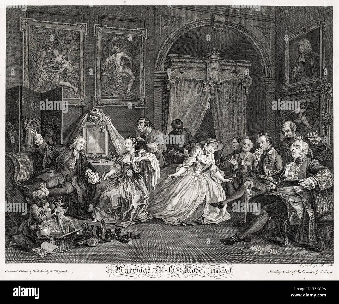 William Hogarth, Ehe à la Mode: Die Toilette Szene, Gravieren, 1745 Stockbild