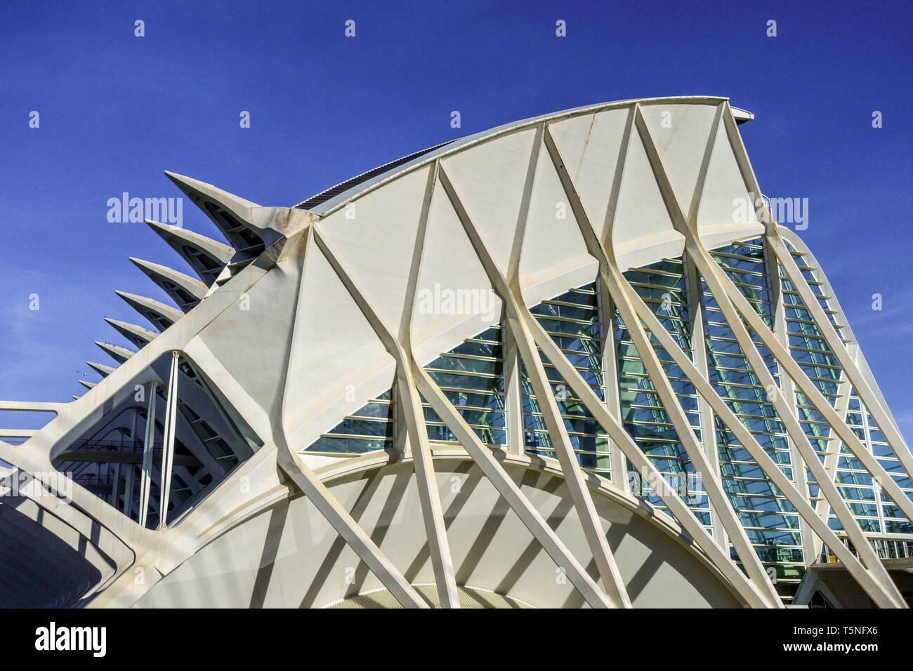 Spanisch moderne zeitgenössische Architektur futuristische Struktur von Calatrava, Stadt Kunst der Ciences Valencia Spanien Europa Stockbild