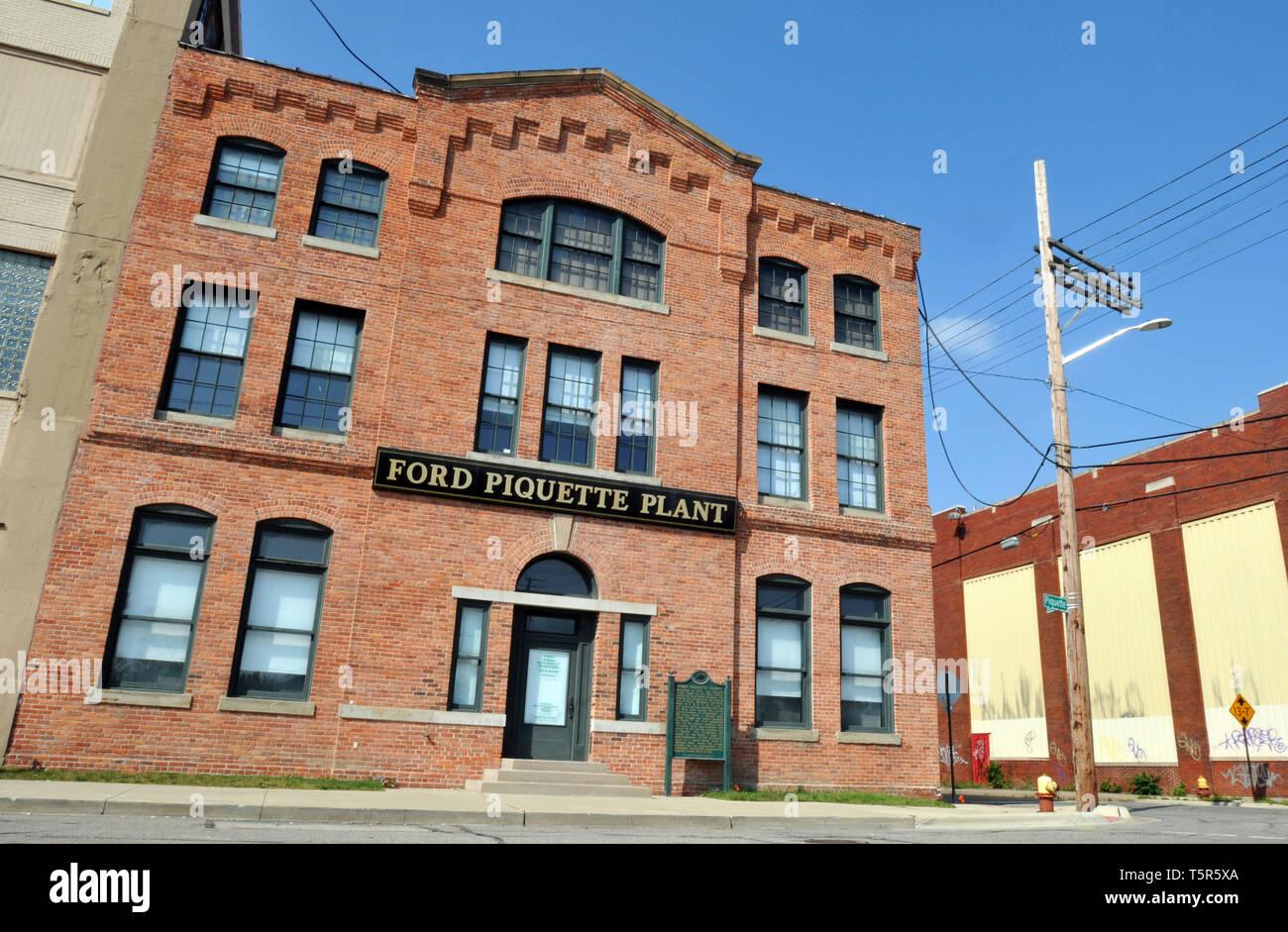 Der Ford Tresterwein Avenue Werk in Detroit, Michigan, ist der Geburtsort des Modell T Automobil. 1904 gebaut, die historische Stätte ist heute ein Museum. Stockbild