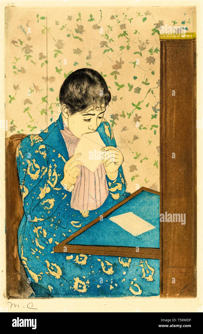 Mary Cassatt, das Schreiben, Drucken, C. 1890-1891 Stockbild