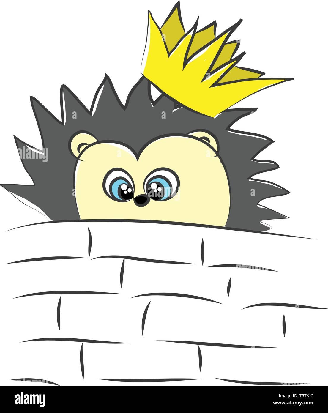 Karikatur Eines Wunderschönen Gelben Igel Mit Schwarzen Stacheln