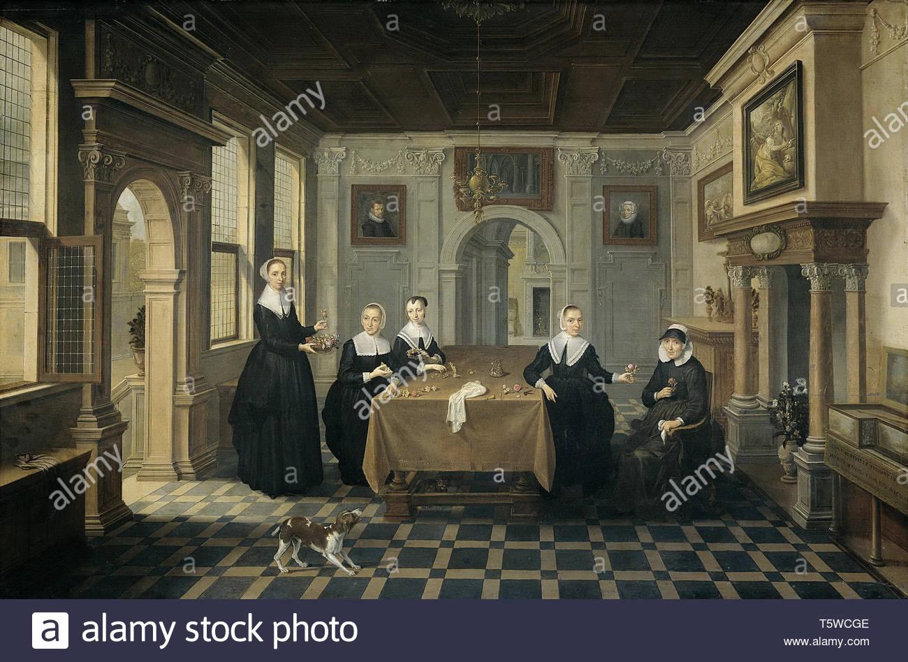 Delen, Dirck van - Interieur met vijf Dames, 1630-1652.jpeg Stockbild