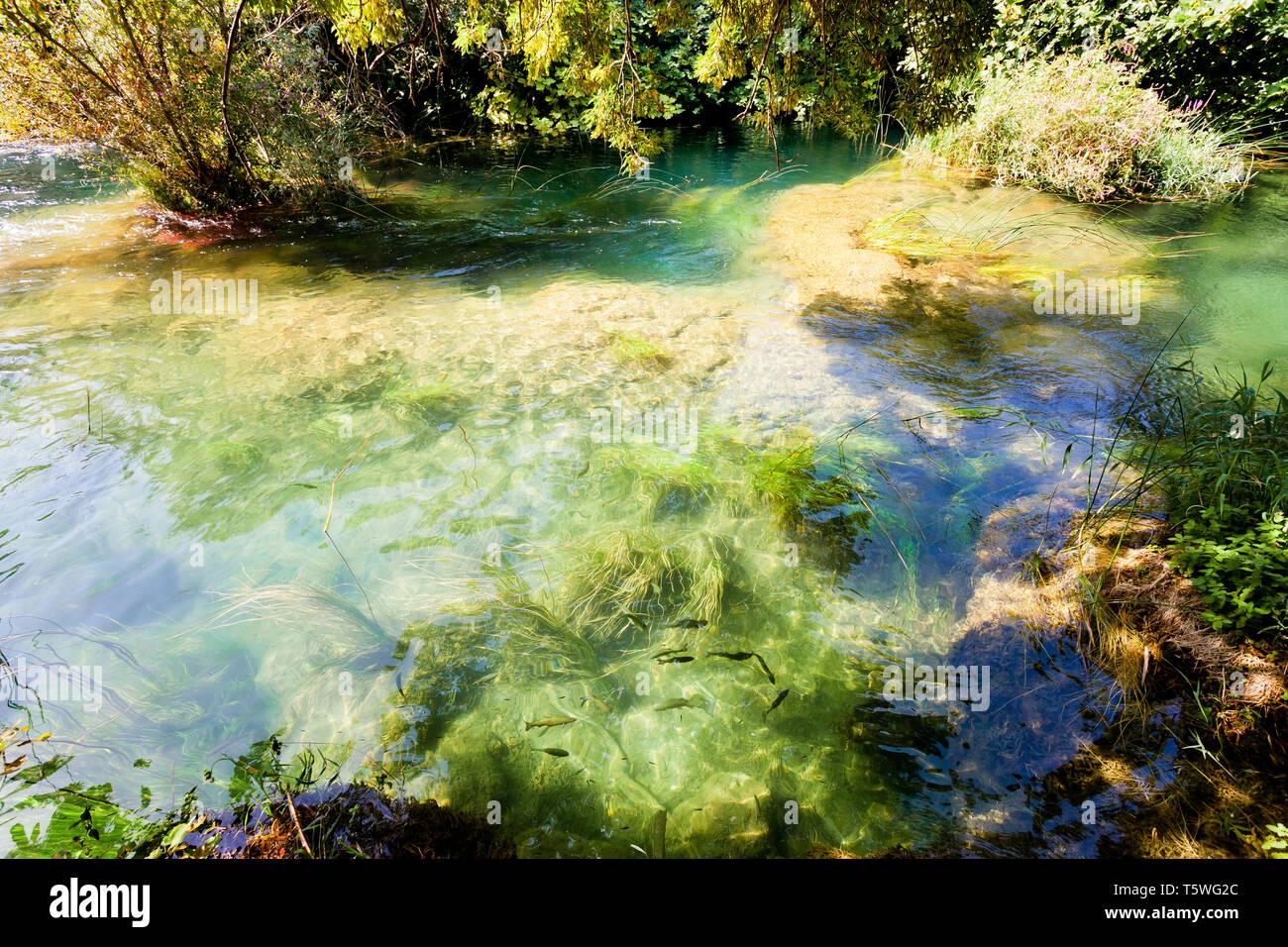 Krka, Sibenik, Kroatien, Europa - fließt mit der ruhigen Flusslauf der Krka ríver Stockfoto