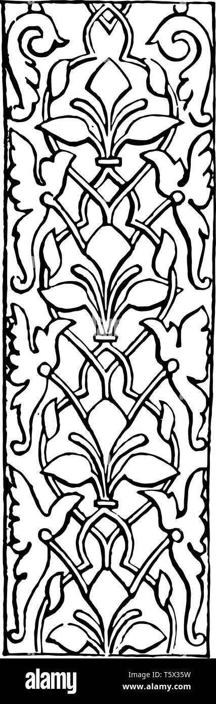 Arabesque ist ein so weit wie Etymologie Es ist eine eigenartige Art fantastische Dekoration vintage Zeichnung zu charakterisieren oder Gravur ich Stockbild