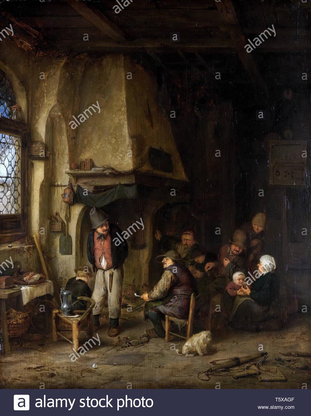"""Ostade, Adriaen van-de schaatsenrijders"""", boerengezelschap im Interieur, 1650 Stockbild"""