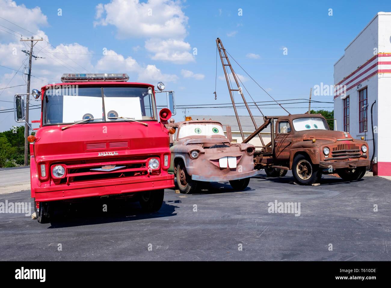 Ursprüngliche Inspiration für den Disney Film Autos in US-Route 66 aus Galena, Kansas, USA Stockbild