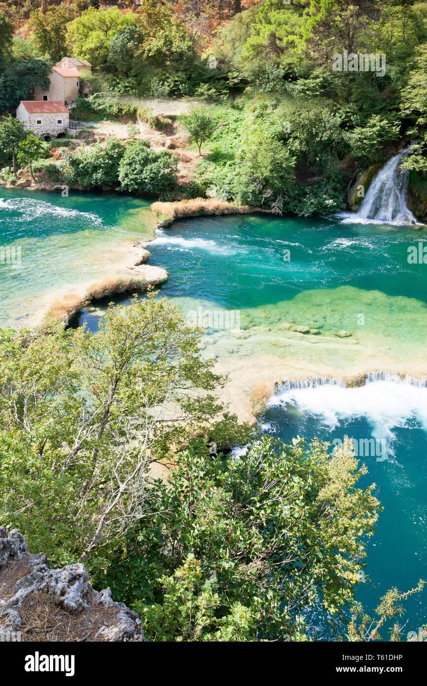Krka, Sibenik, Kroatien, Europa - atmen Sie die frische Luft der Natur im Nationalpark Krka Stockfoto