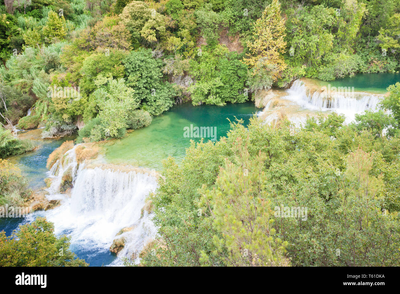 Krka, Sibenik, Kroatien, Europa - Besuch der berühmten Wasserfälle von Krka Stockfoto