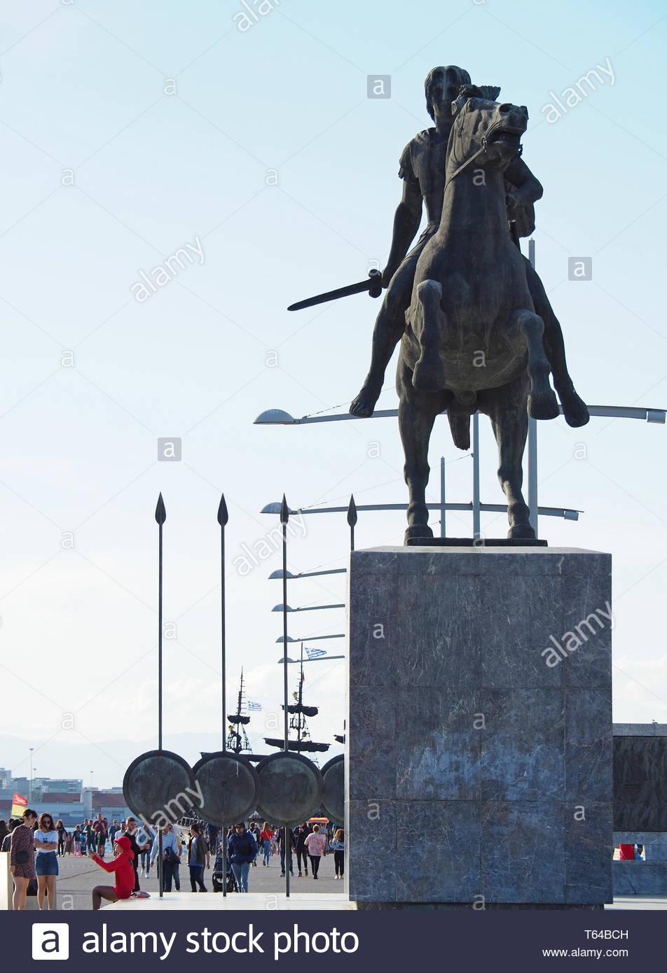 Vorderansicht des Großen Alexander Statue in Thessaloniki Stadt Stockbild