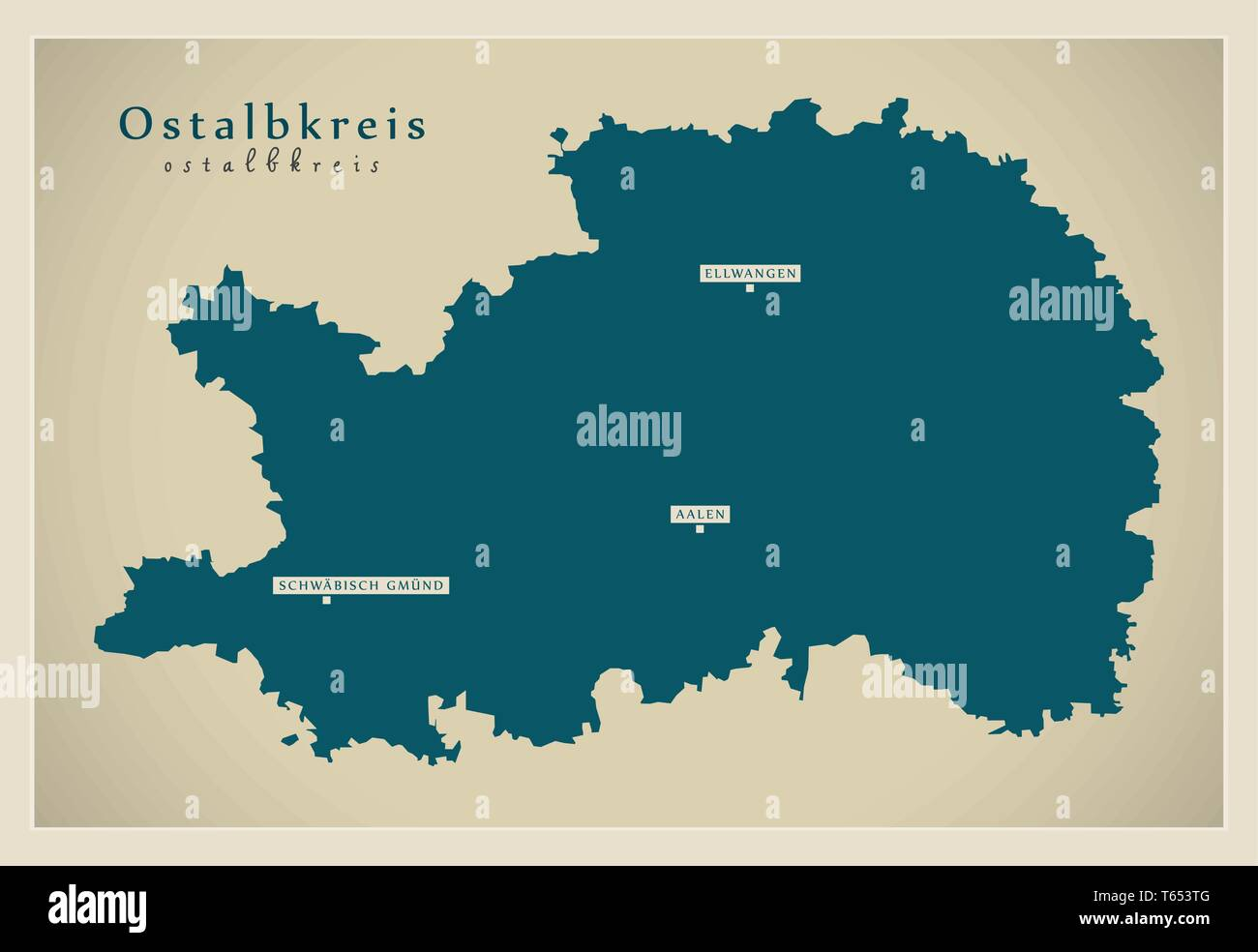 Ostalbkreis Karte.Moderne Karte Ostalbkreis Grafschaft Baden Württemberg De Vektor