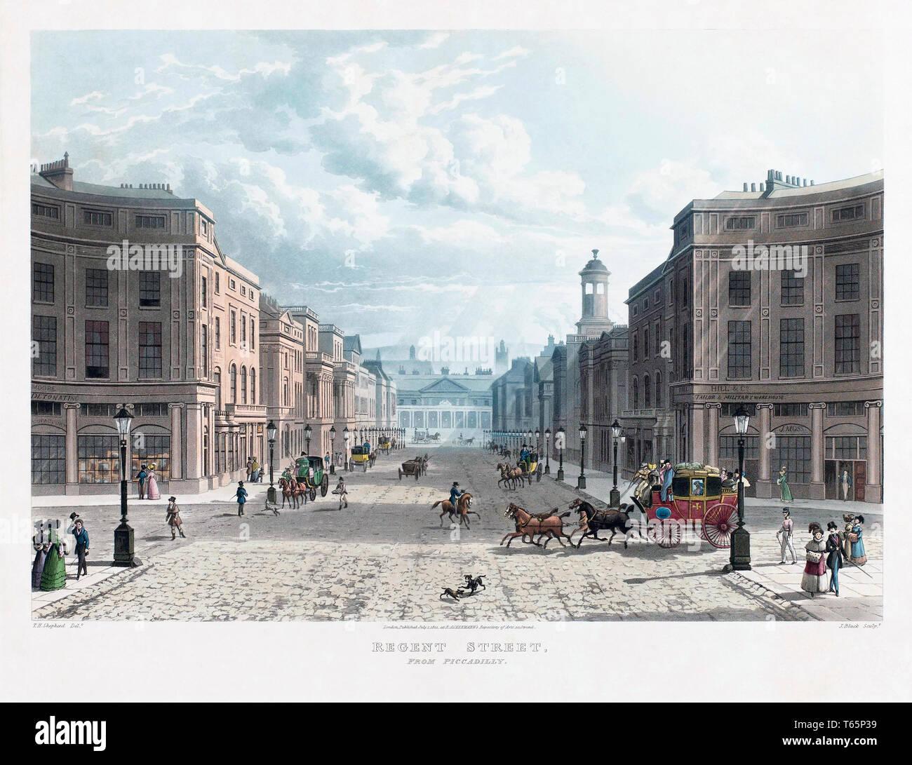 Regent Street von Piccadilly. London, England. Nach einem Stich im Jahr 1822 veröffentlicht. Stockbild