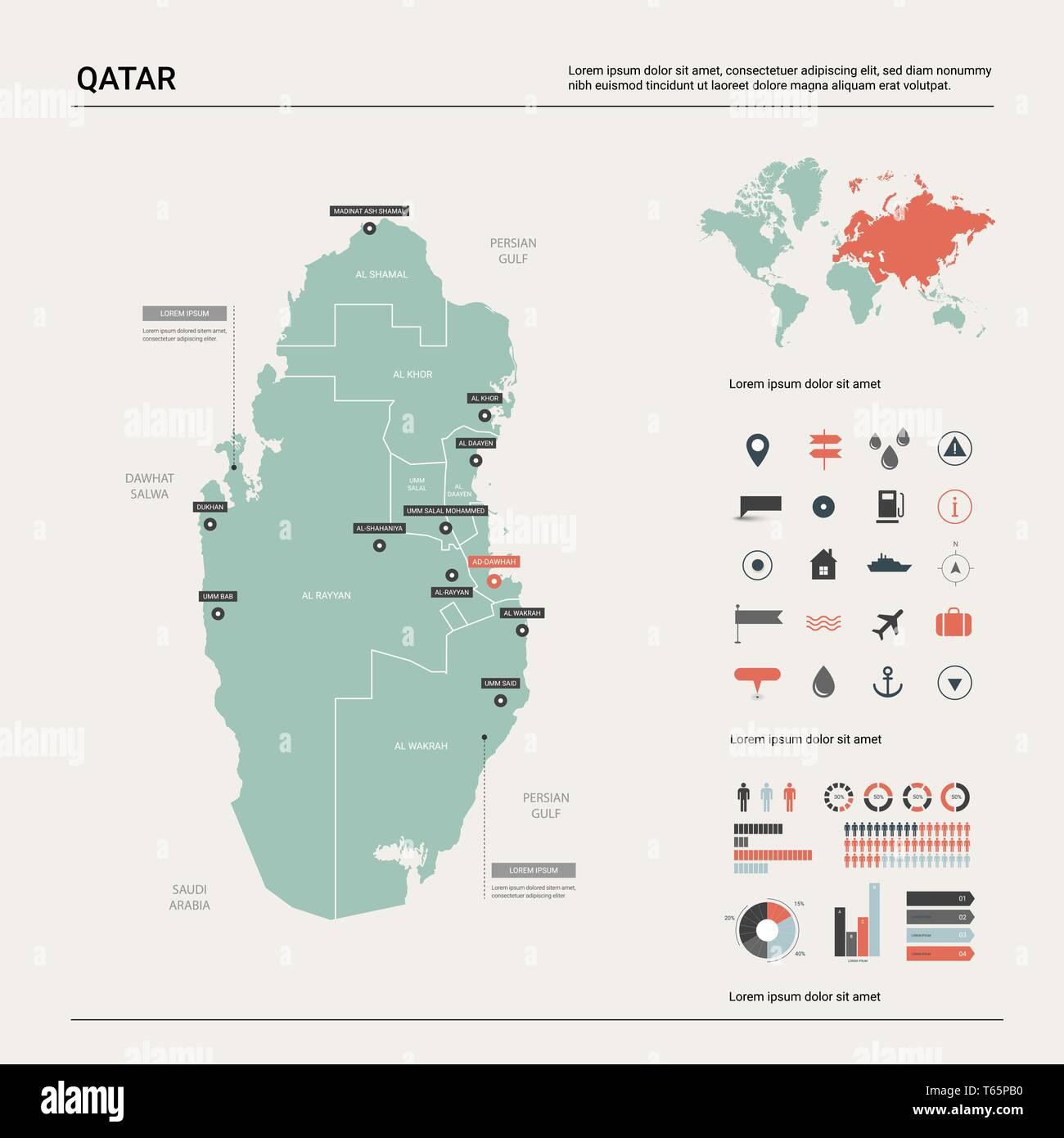 Doha Karte Welt.Qatar Political Map Stockfotos Qatar Political Map Bilder