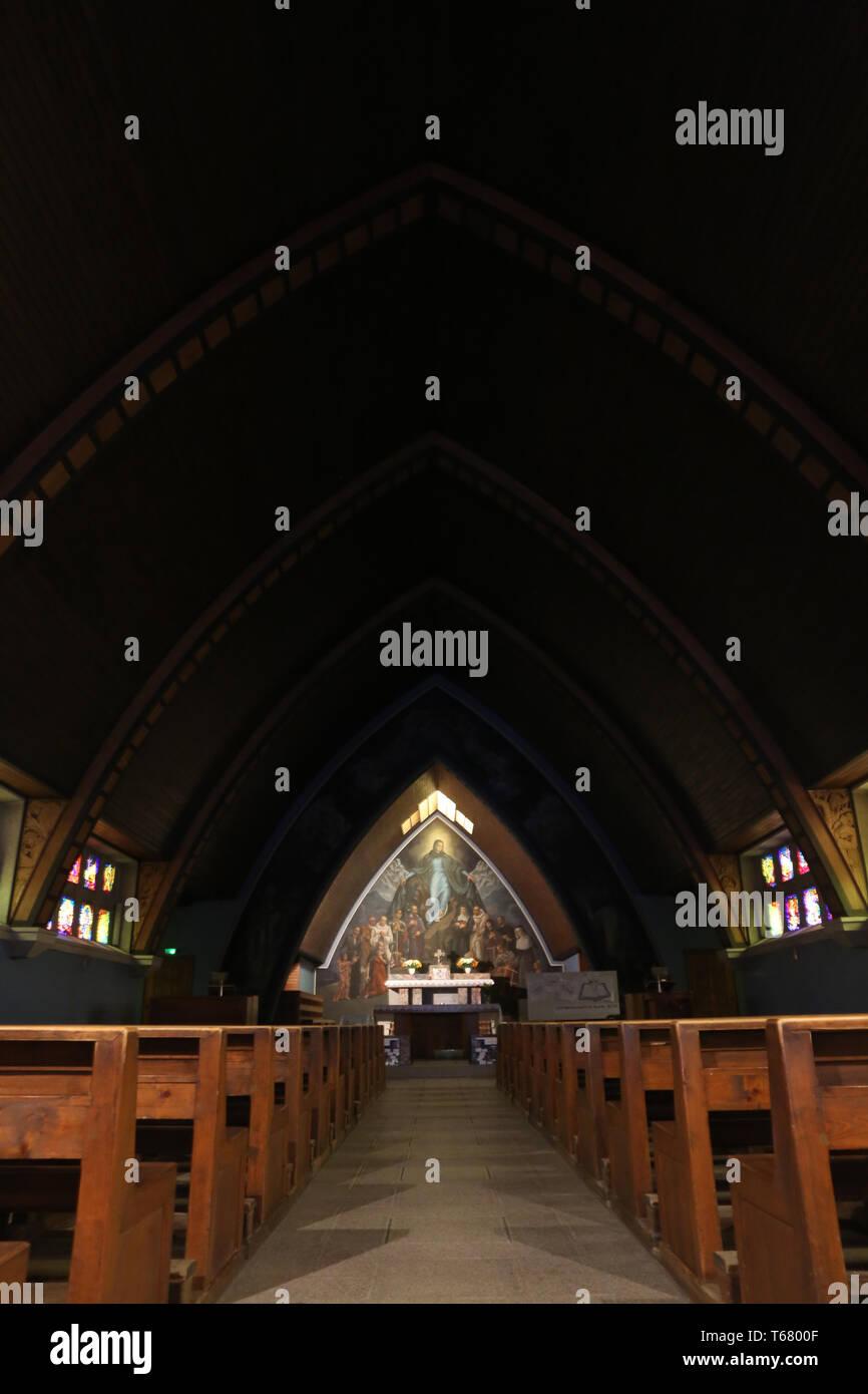 Allée Centrale. Eglise Notre-Dame des Alpes. Le Fayet. Stockbild