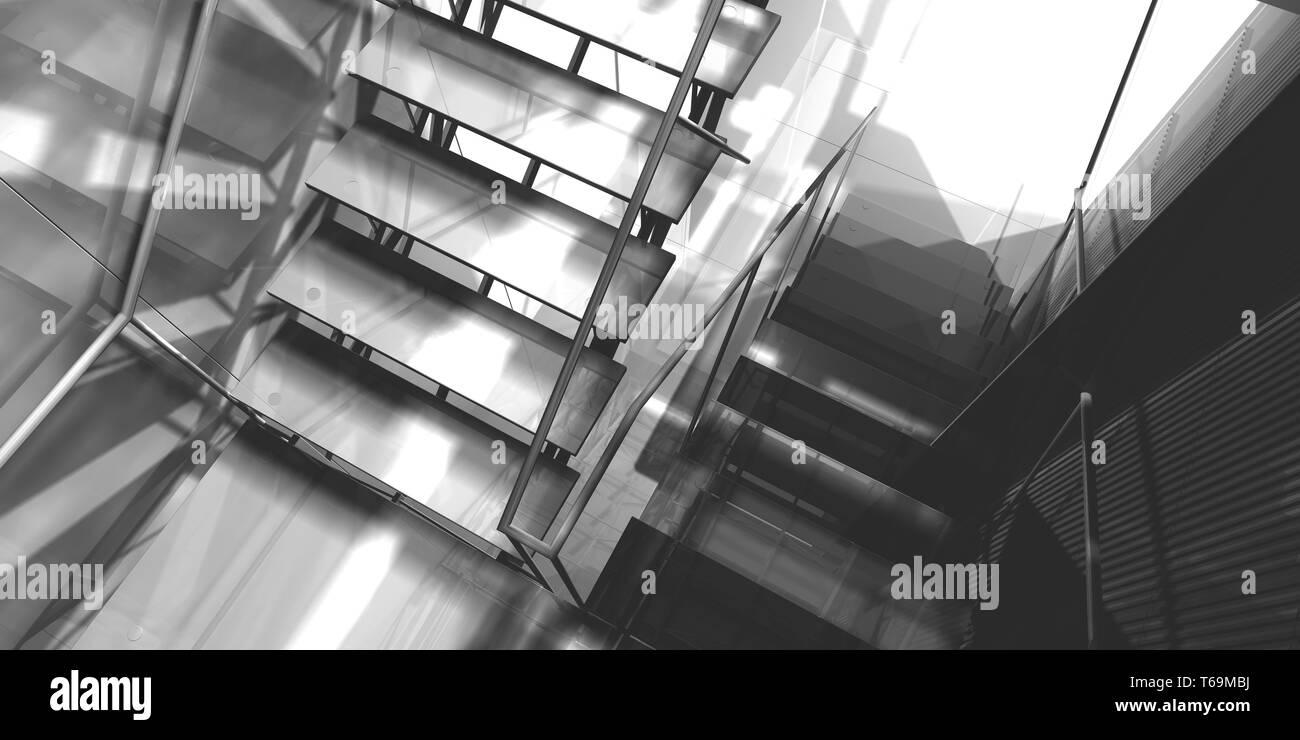 3D-Rendering, Arbeitsplatz. Modernes Büro, Innentreppen, saubere Unterkunft in Geschäftshaus Stockfoto