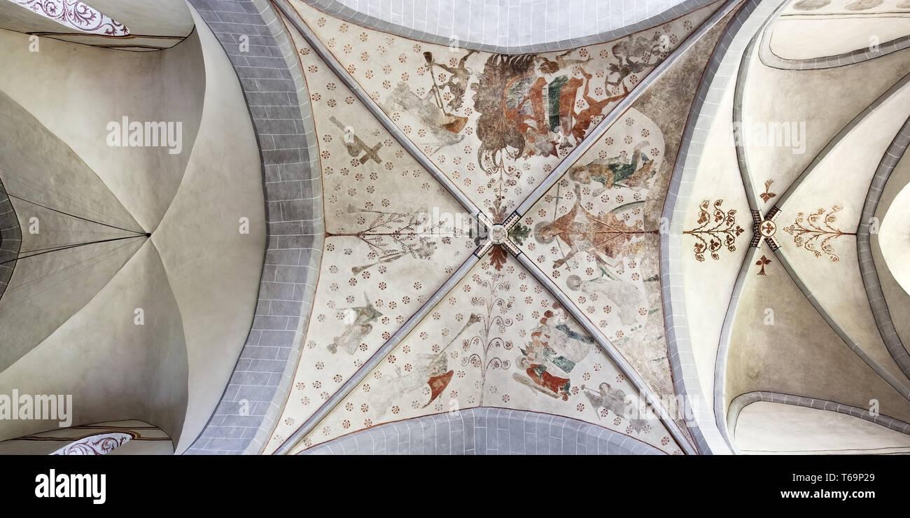 Wiedenest evangelische Dorfkirche Bunte Kerk mit Wandmalereien, Bergneustadt, Deutschland Stockfoto