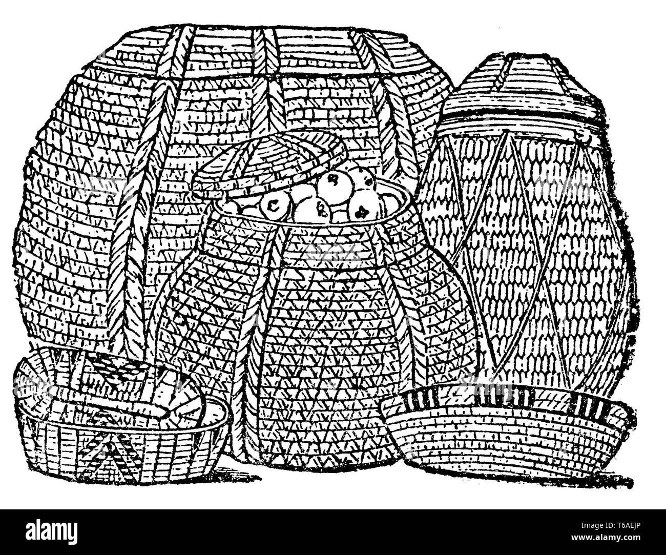 Antike Ägyptische Körbe. Nach Wilkinson, 1885 Stockbild