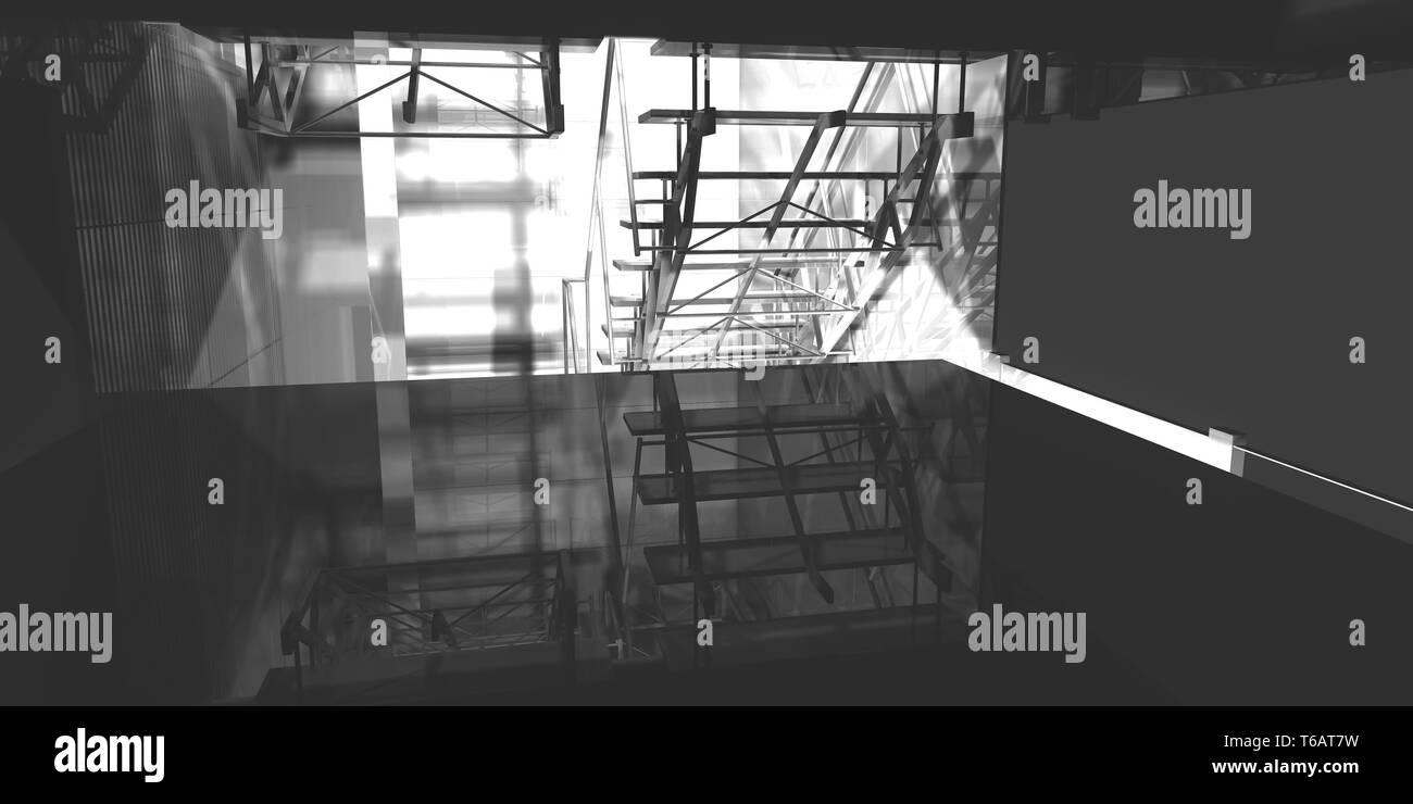 3D-Rendering, Arbeitsplatz. Modernes Büro, Innentreppen, saubere Unterkunft in Geschäftshaus Stockbild