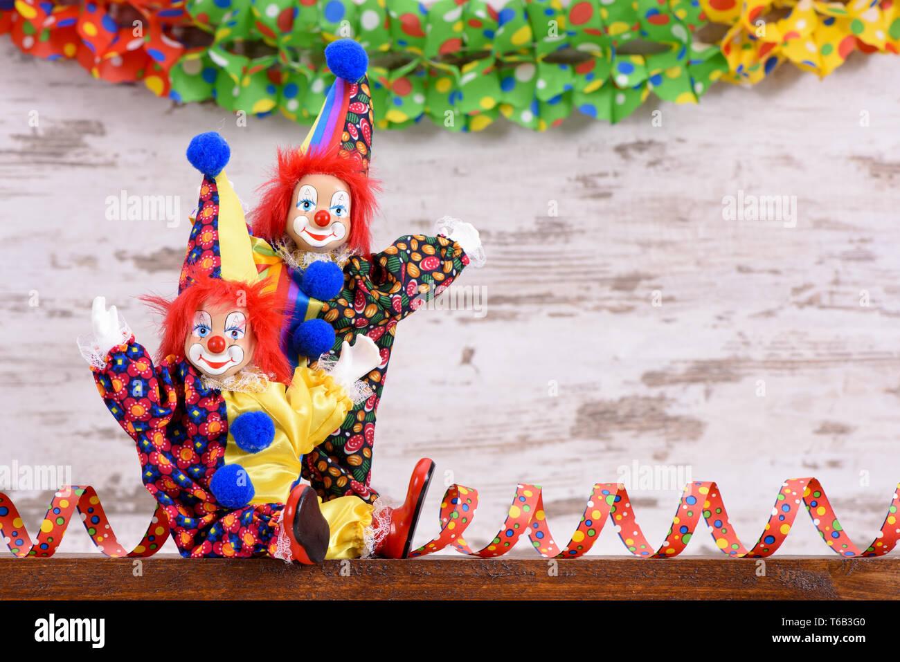 Clowns an deutschen Karneval mit lustigen Kleid Stockfoto