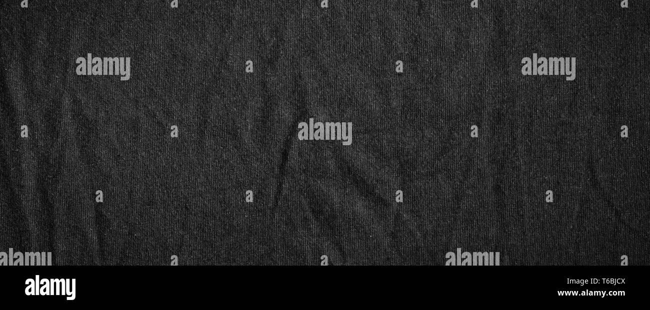 Schwarz High ausführliche Leinwand mit feinen Streifenmuster. Dunklen Stoff Textur. Stockbild
