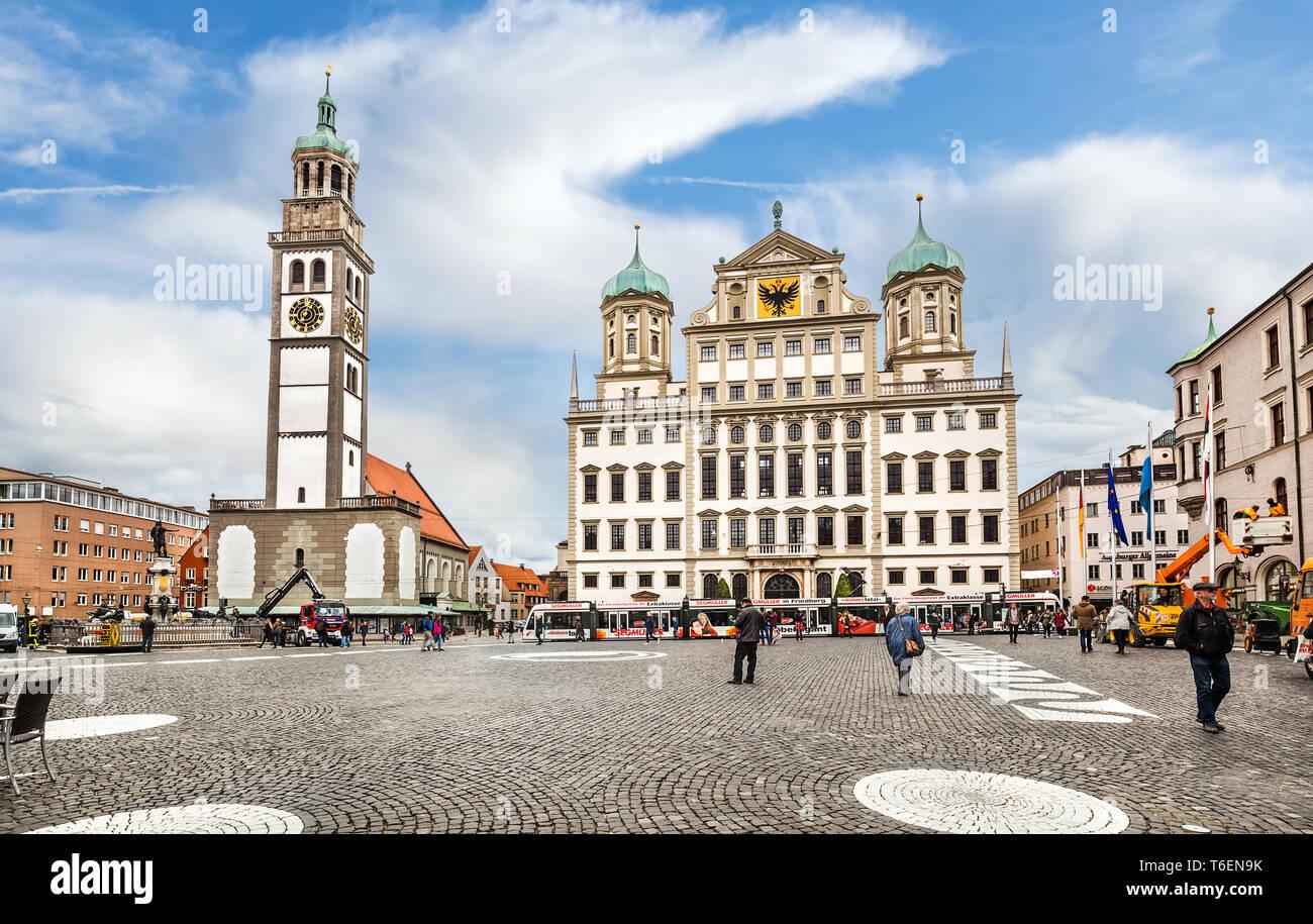 Stadtzentrum von Augsburg. Stockbild