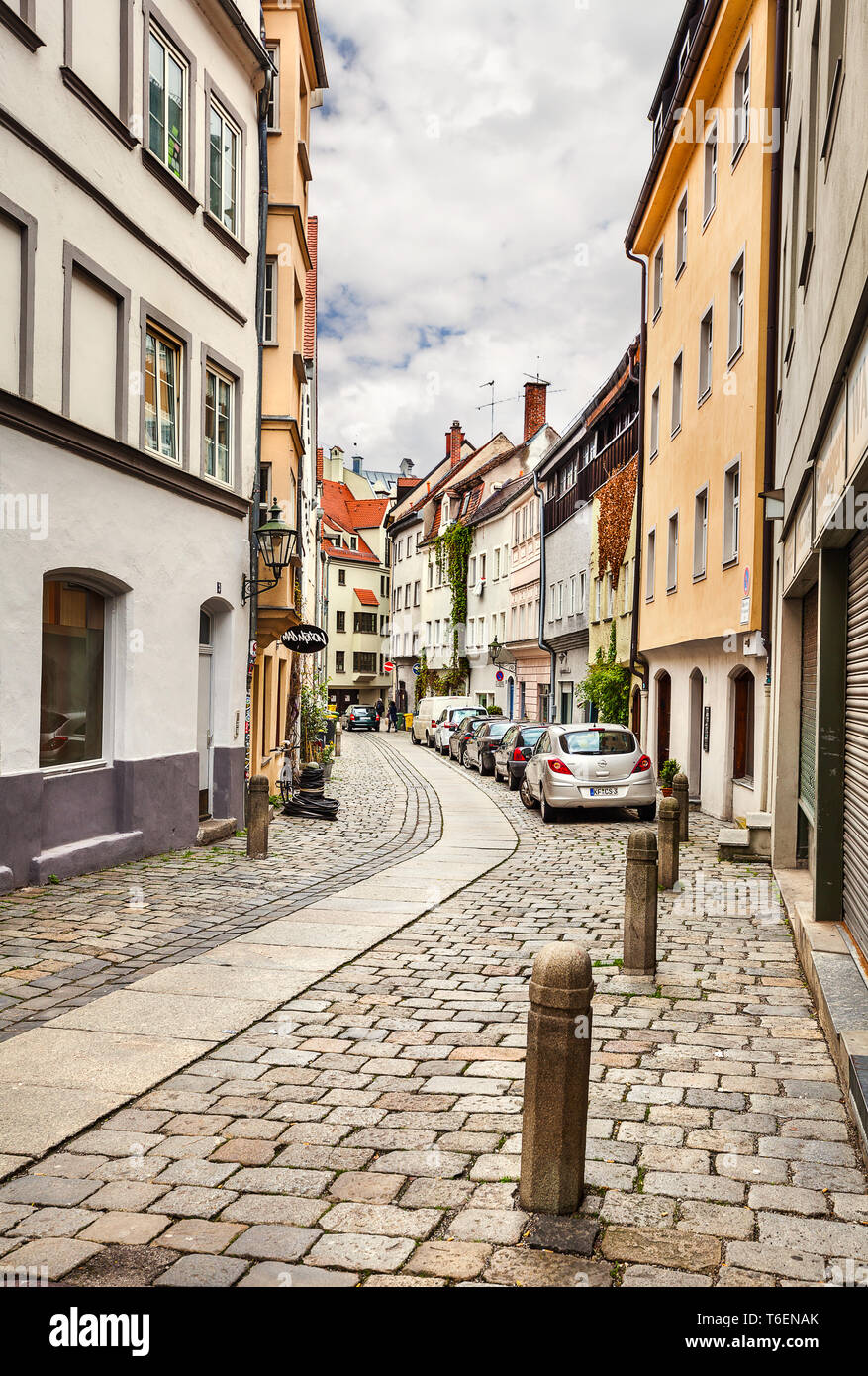 Die Straße der Stadt Augsburg. Stockbild