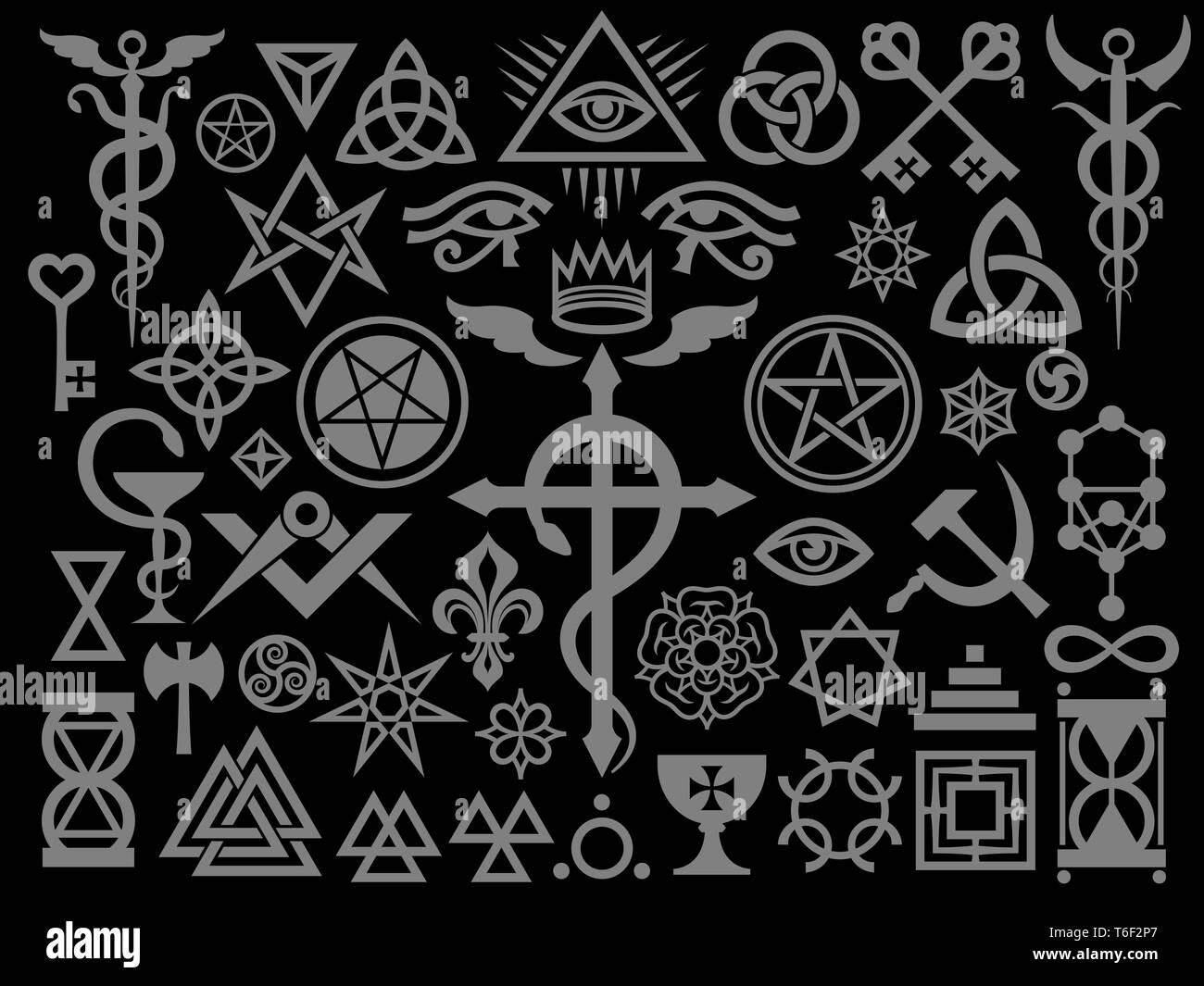 Mittelalterliche okkulten Zeichen und Magie Briefmarken (Silber Black Edition) Stockbild