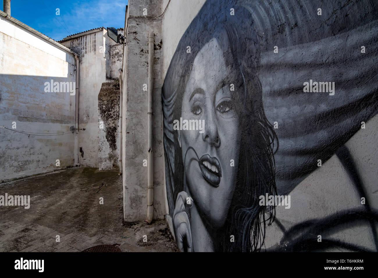LATERZA, Italien - 27. August 2018 - Schwarz und Weiß street art Graffiti von Frau Lächeln von den weißen Wänden in der Fußgängerzone Pass weg in der Provinz Stockfoto