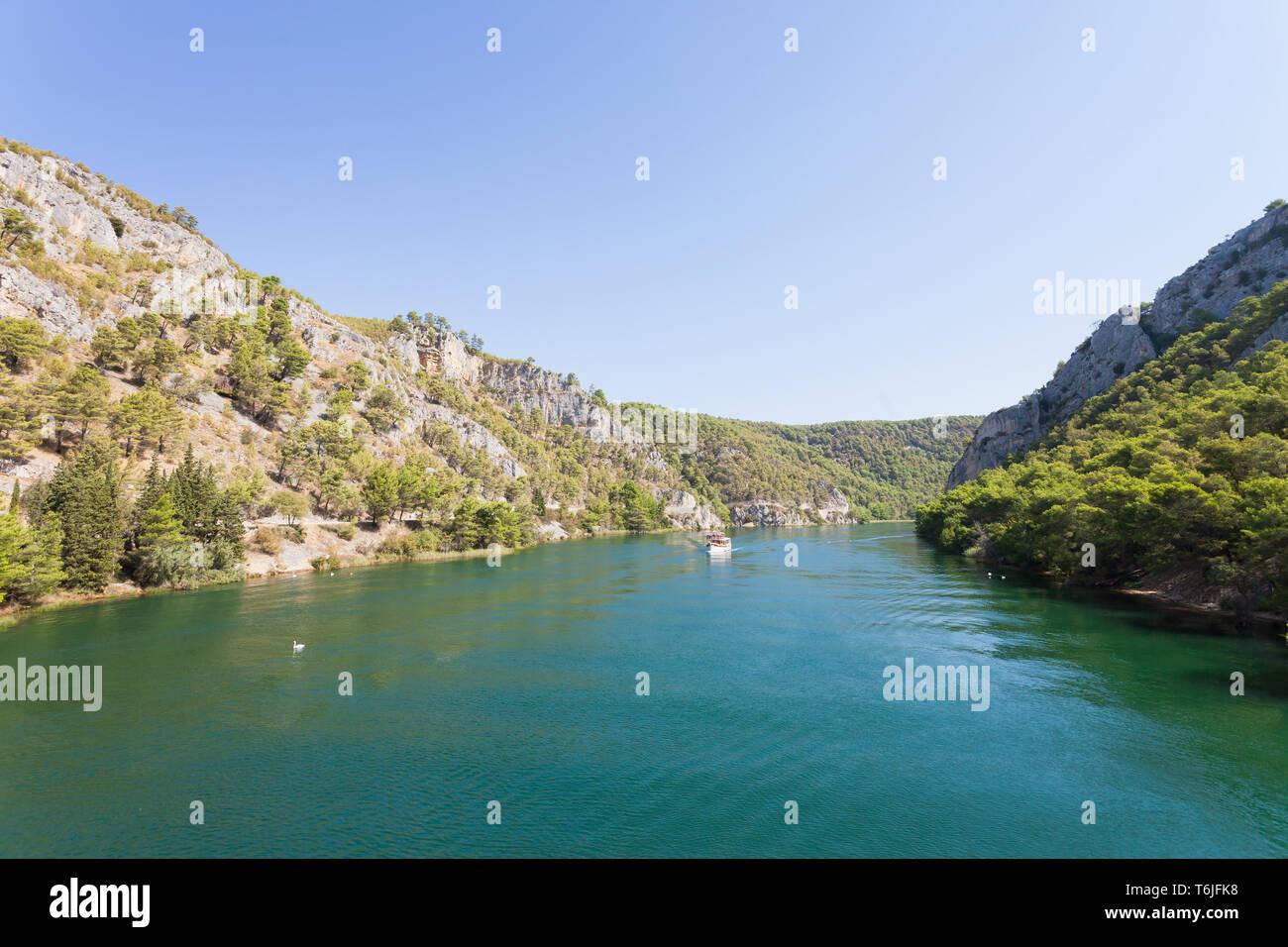 Skradin, Kroatien, Europa - Eingabe der Flussmündung nach Skradin Stockfoto