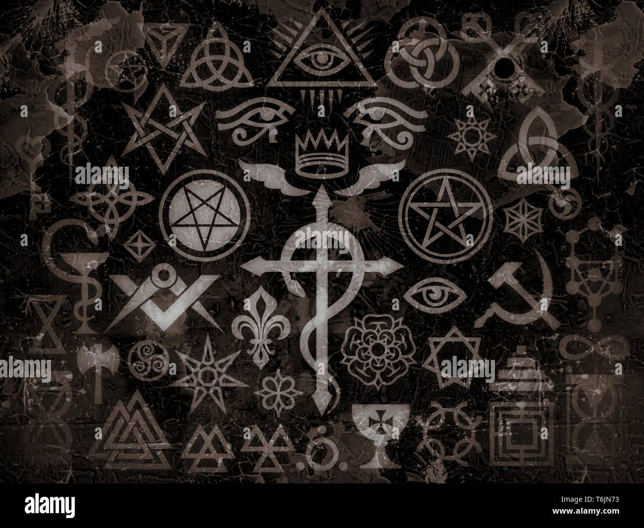 Mittelalterliche okkulten Zeichen und Magie Briefmarken (Vintage Grime Edition) Stockbild