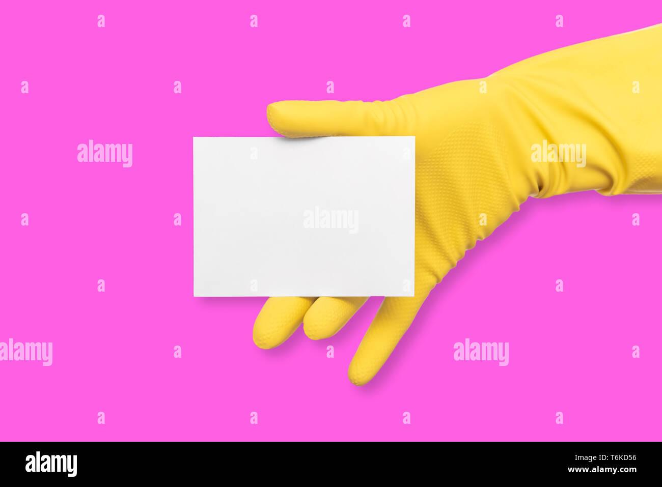 Ein Gummi Behandschuhte Hand Hält Eine Weiße Leere