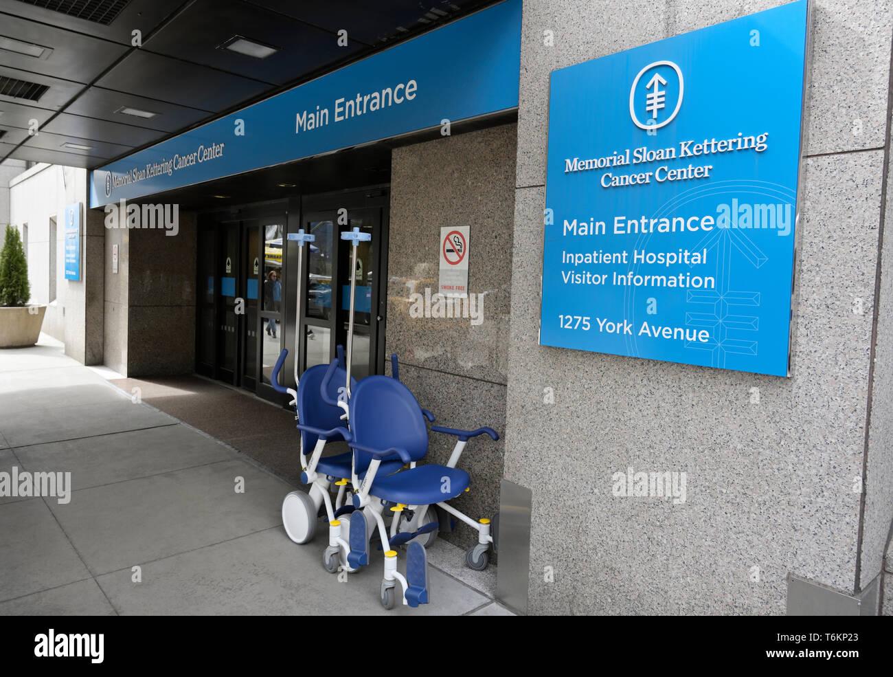 Memorial Sloan Kettering Cancer Center Haupteingang Stockbild