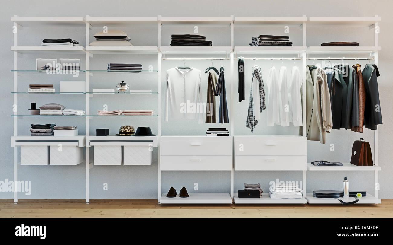 Moderne Holz Und Metall Garderobe Mit Männer Kleidung