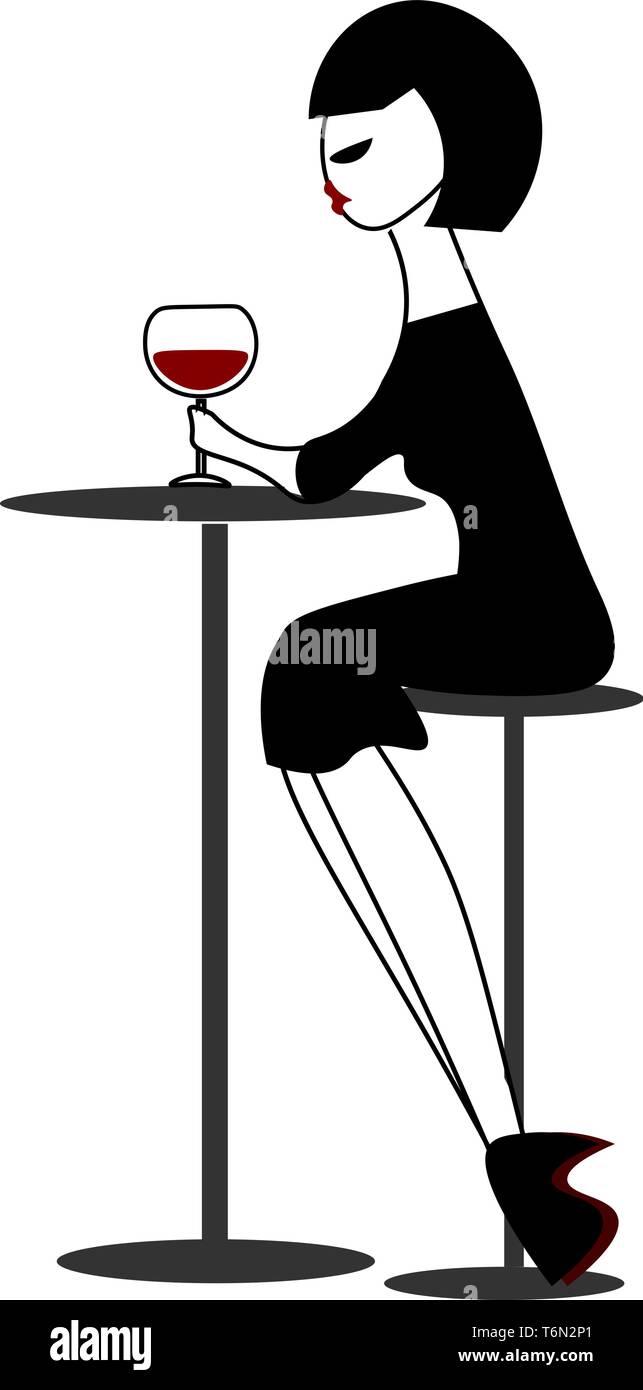 Clipart Einer Frau In Einem Schwarzen Outfit Getranke